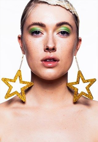 GOLD HOLOGRAPHIC GLITTER XL STAR EARRINGS