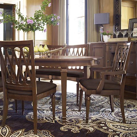 Oval Table With Lattice Back Chairs Meadowbrook Manor HGTV HOME Furniture