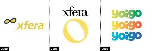 Evolución de logos, de Xfera a Yoigo