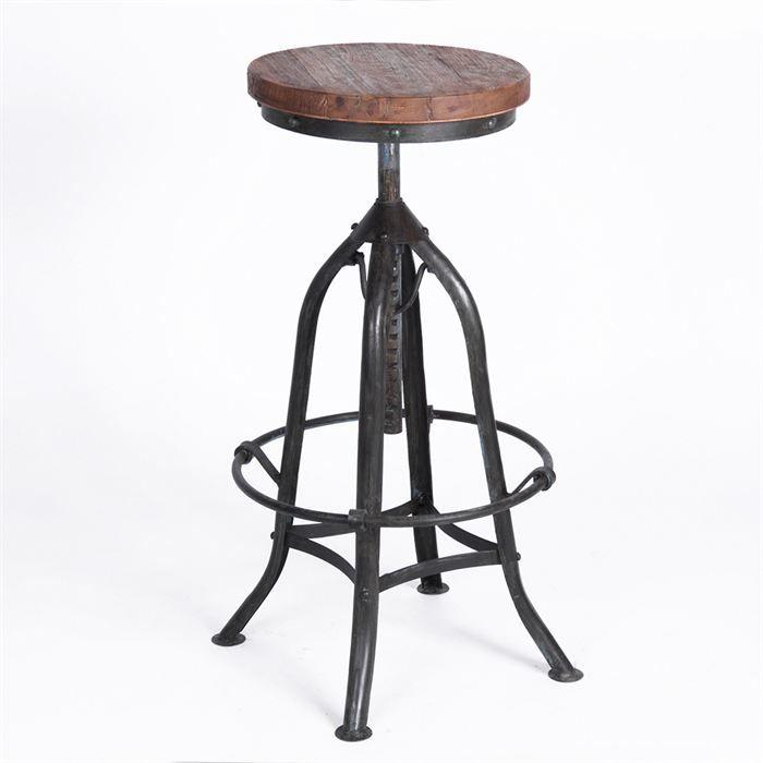 soldes t vite dcouvrez luoffre chaise de bar rond sibel en mtal plateau bois pas cher sur. Black Bedroom Furniture Sets. Home Design Ideas