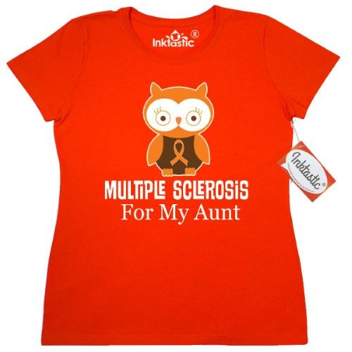 Inktastic Multiple Sclerosis MS For My Aunt Women's T-Shirt M.s. Awareness Support Orange Ribbon World Day Month March May Apparel Clothing Walk Gift Owl Event Tees Adult Hws, Size: XXL
