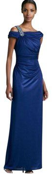David Meister Blue Jeweled Evening Gown