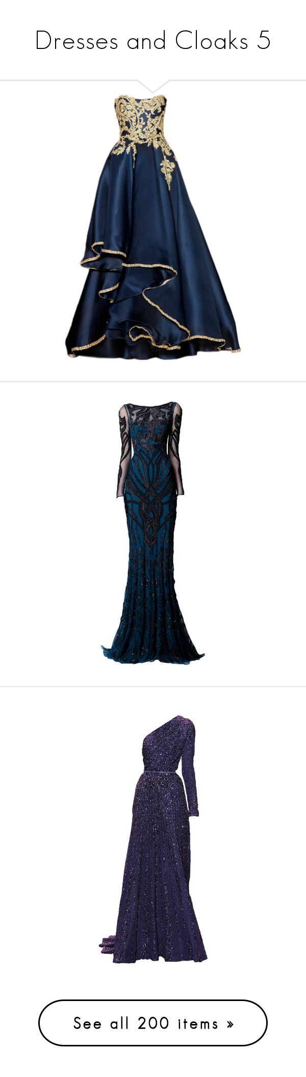 """""""Dresses and Cloaks 5"""" by xx-black-blade-xx ❤ liked on Polyvore featuring dresses, gowns, long dresses, vestidos, long blue evening dress, blue gown, blue evening dresses, blue dress, long blue dress and zuhair murad evening dresses"""