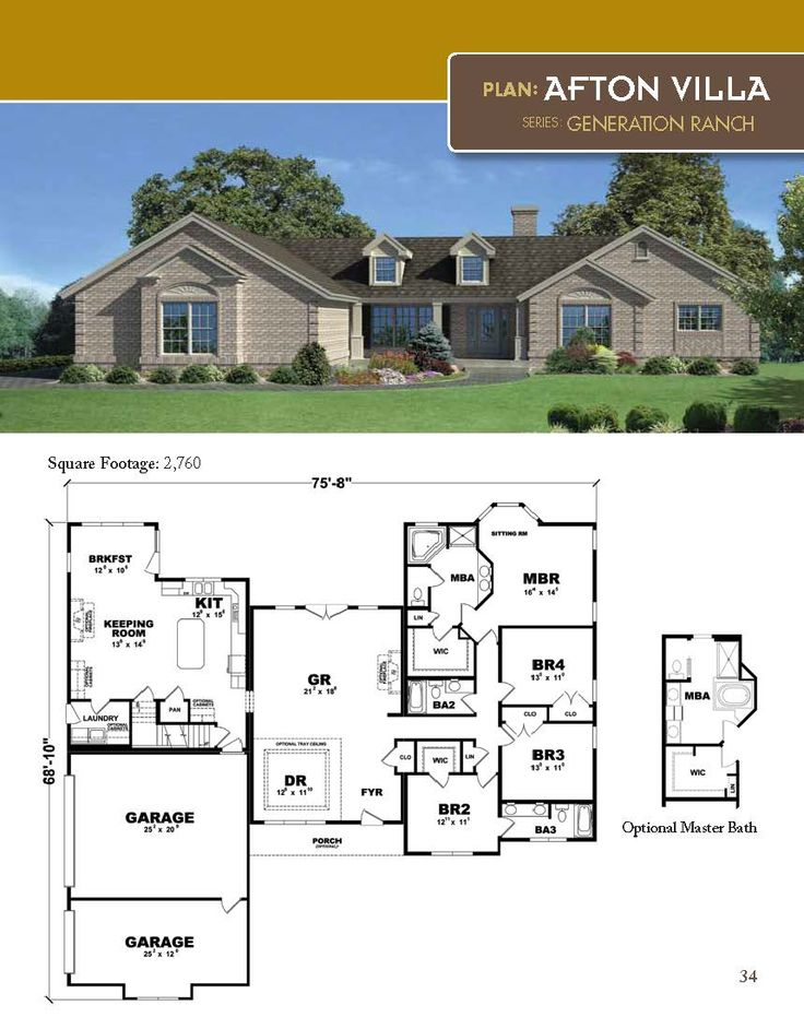 The Afton Villa Ranch Style Home 2760 Square Feet 4