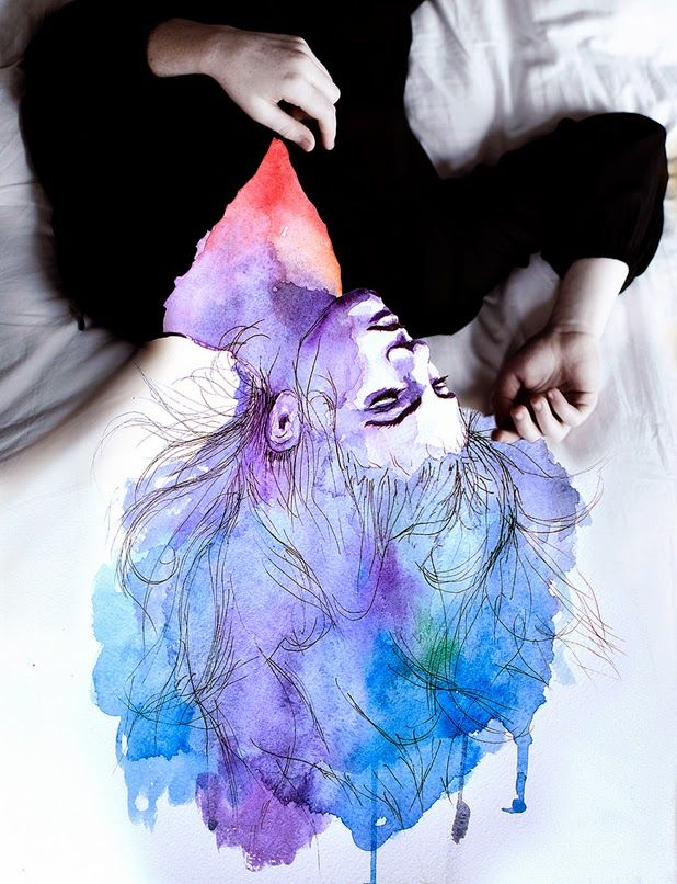 self portraits merged with watercolor by aliza razell