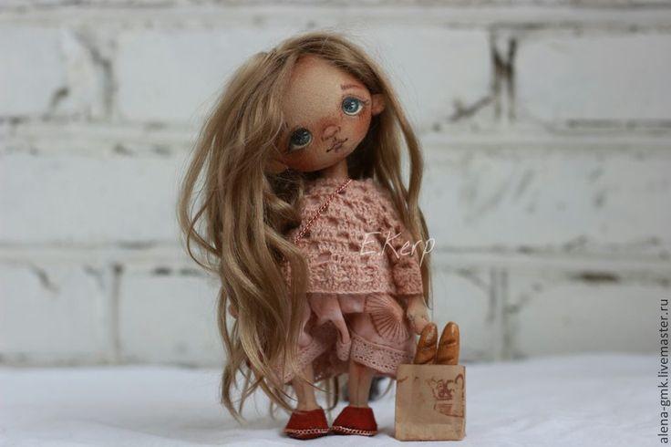 Купить текстильная кукла ручнрй работы - кремовый, подарок девушке, текстильная кукла, кукла, подарок