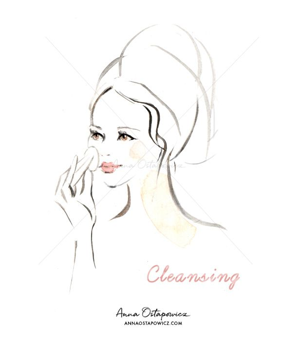 Cleansing, Illustration Anna Ostapowicz, #beauty, #editorialillustration, #cosmetics, #face