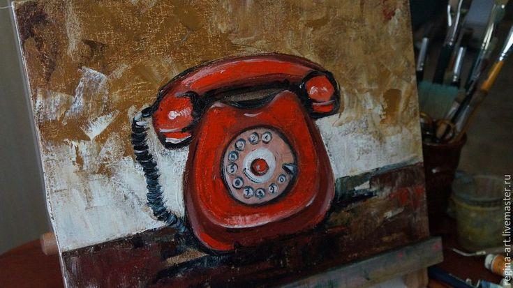 Сегодня представляю вашему вниманию мастер-класс по написанию картины 'Красный телефон' маслом и мастихином. В работе нам понадобится: 1. Кисть большая (для подмалевка). 2. Мастихин (подойдет любой формы). 3. Холст ( можно на оргалите, картоне, или на подрамнике), размер 30*40. 4. Краски масляные: белила титановые; сиена натуральная (для фона); сиена жженая (для фона); индиго; алая (для телефона); индийская красная (для телефона); палитра.