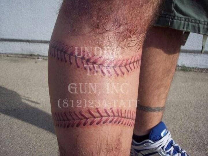 Baseball tattoo by D'Wan Ellington @ Under the Gun, Inc.