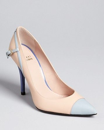 Stuart Weitzman Cap Toe Pointed Toe Pumps - Hitchup High Heel | Bloomingdale's