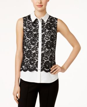 Calvin Klein Lace Colorblocked Blouse - White XS