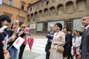 HIH Princess Kiko made a solo visit to the Library of Sala Borsa (Biblioteca Salaborsa) at the Palazzo d'Accursio.