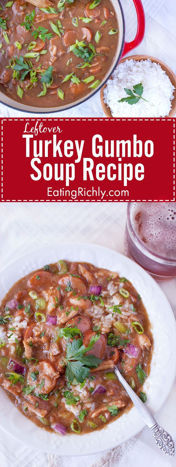 Need some good leftover turkey recipes? This turkey gumbo is a great way to use up leftover turkey during the holiday season, but you can also sub shredded chicken and chicken stock to make it any time of year. From EatingRichly.com