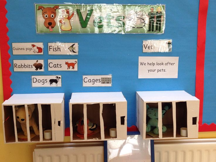 Vets role play for reception class. Home made cages from cardboard boxes staple gunned to wall!