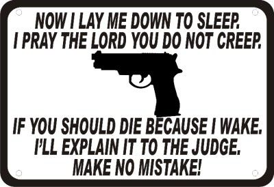 "Now I Lay Me Down to Sleep Gun Security Humor 14""x10"" Novelty Man Cave Sign 