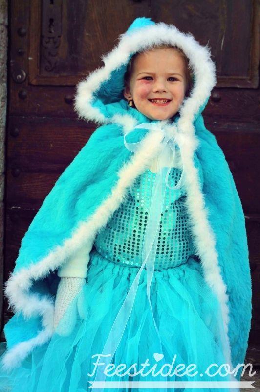 Elsa kostuum cape met capuchon