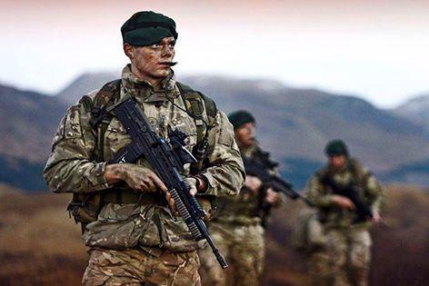 Royal Marine Commandos on patrol.