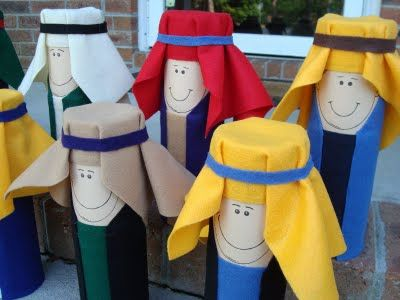 Apolstles (or any characters) made from Pringles Cans.  You could also use empty cardboard tubes like from paper towels.