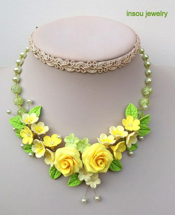 Yellow Necklace Roses Ombre Necklace Flower Necklace