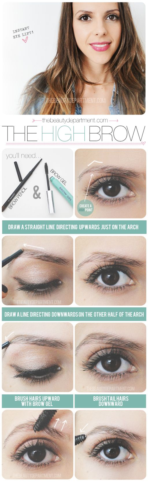 thebeautydepartment.com high brow -- using brow gel can train your brows to grow in direction you want them to. #xovain