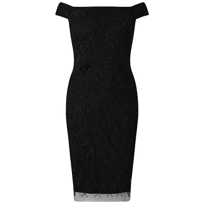 Adrianna Papell Off Shoulder Bead And Velvet Applique Sheath Dress, Black