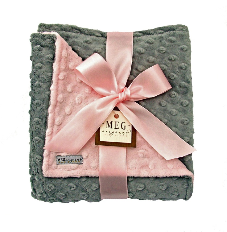 Pink and Gray Baby Girl Minky Dot Blanket. $36.00, via Etsy...  Great idea to make for grandchildren in nursery color scheme!