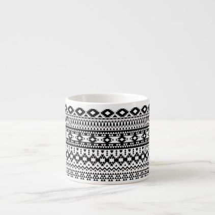 Boho flowers Black and White vector floral pattern Espresso Cup - white gifts elegant diy gift ideas