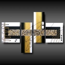 "4 Quadri Moderni Astratti ""BLACK & GOLD"""