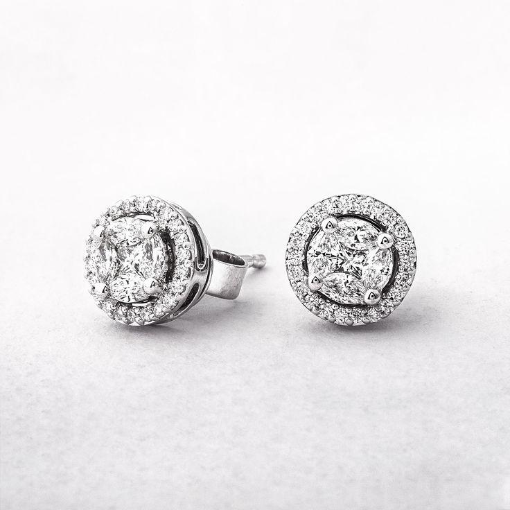 Multi Stone Diamond with Halo Stud
