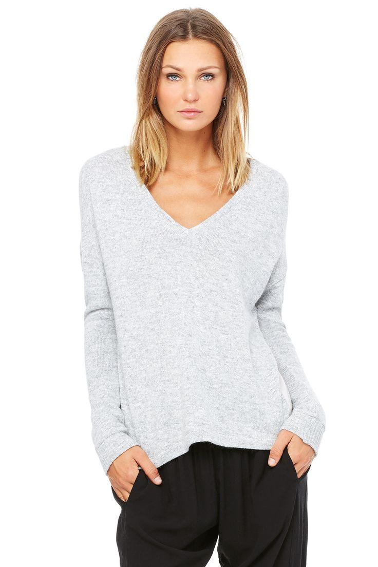 Women's Drop Shoulder V-Neck Sweater | Sweaters | Bella Luxx