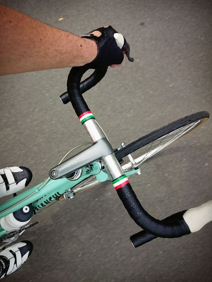 Bianchi road bike riders perspective
