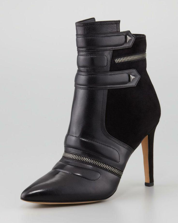 black zipper boot