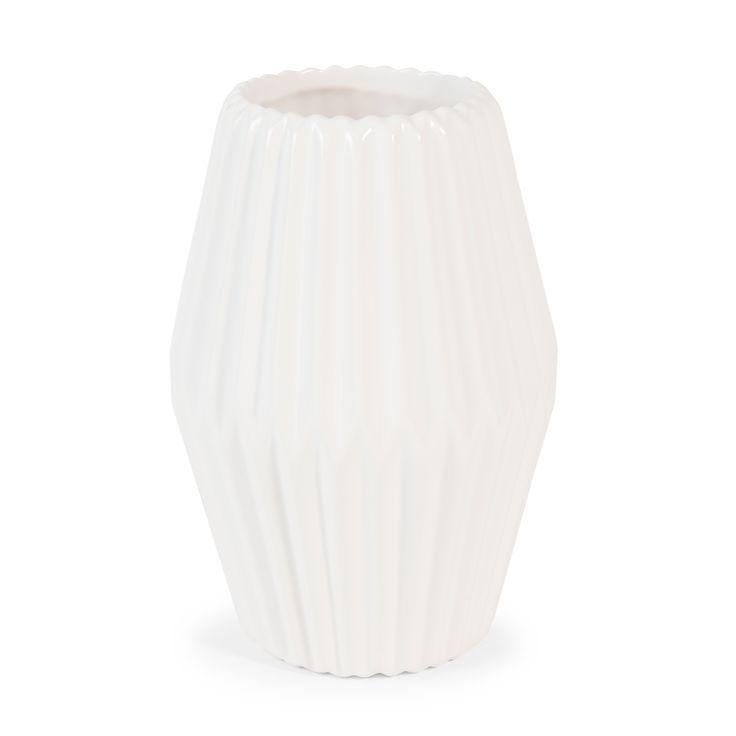 Vase en dolomite blanc H 19 cm PRISME