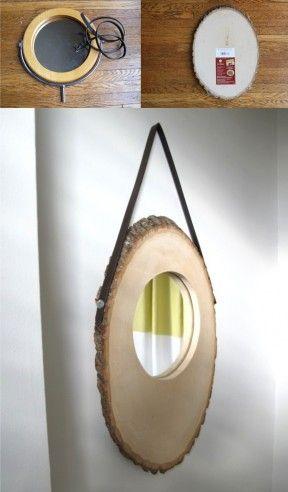 Espejo DIY con un tronco como base