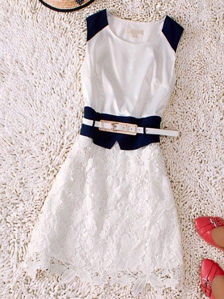 White Round Neck Sleeveless Silk Dress: Pretty Dresses, Neck Sleeveless, Fashion Dresses, Silk Dresses, Round Neck, Dresses Sheinsid, Drawstring Waist, Lace Dresses, Waist Silk