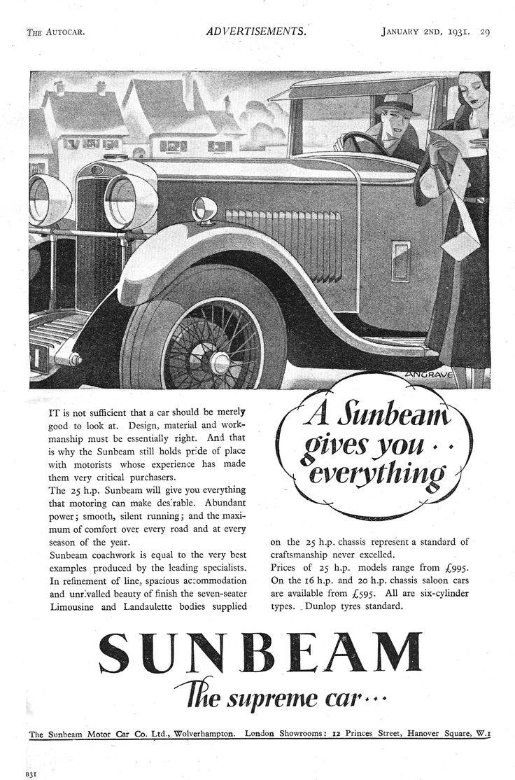 All sunbeam car company models list of sunbeam car company cars - Sunbeam 25hp Autocar Motor Car Advert 1931