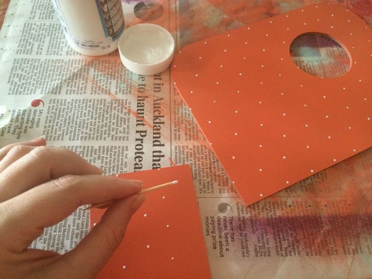 Step 7 - I added a polka dot pattern using a toothpick and white acrylic paint