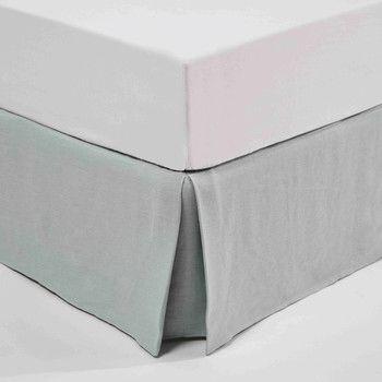 Hoes boxspring 180 x 200 cm, gewassen linnen, blauw, MORPHÉE