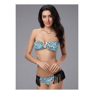 SW640-99 Costum de baie sexi cu franjuri si model Animal Print