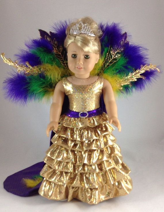 18T Holiday Wear - Mardi Gras Ball Gown as the Queen for American Girl Doll - McKenna, Saige, Lanie, Molly, Kit, and JLY