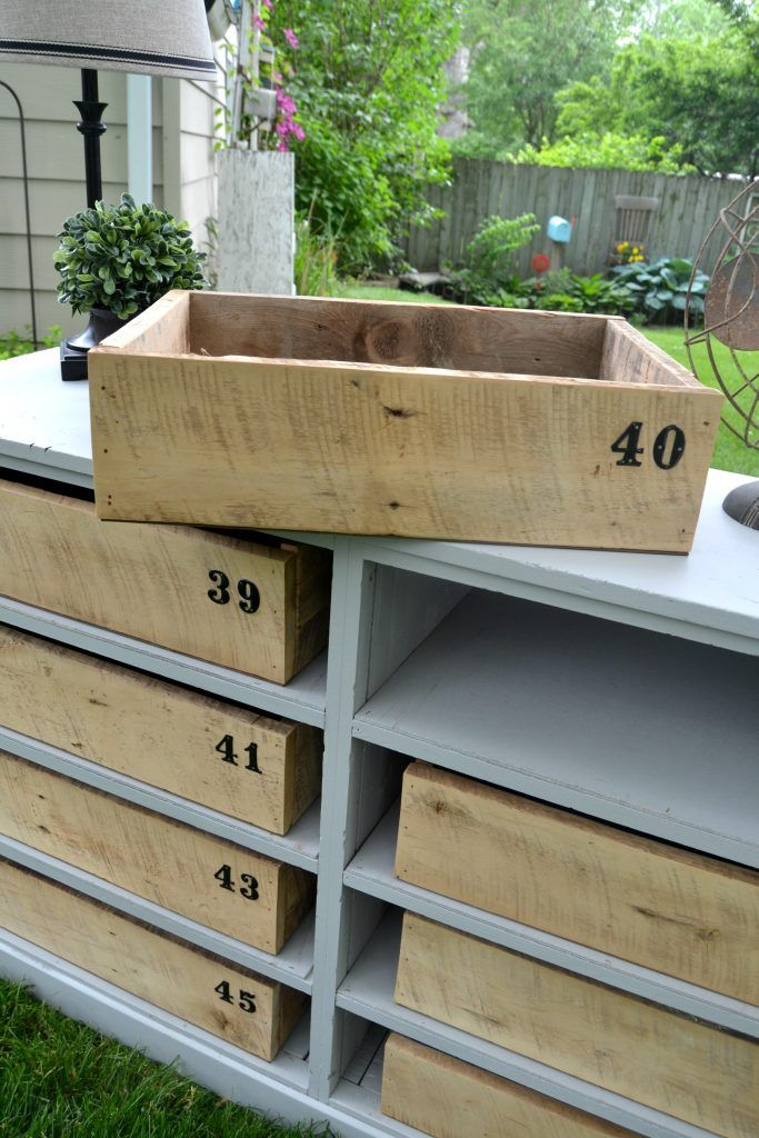 Repurposed Dresser Bookshelf with crate drawers                                                                                                                                                                                 More