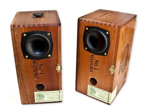wooden cigar boxes recycled into speakers