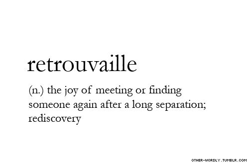RETROUVAILLE (n) the joy of meeting or finding someone again after a long separation; rediscovery ~~~ pronunciation | re-trU-'vI