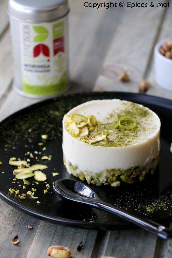 Cheesecake cru pistache-cajou, citron vert et poudre de Moringa { Concours Inside } Epices & moi - #cru #végétalien #sansgluten @Moringa&Co