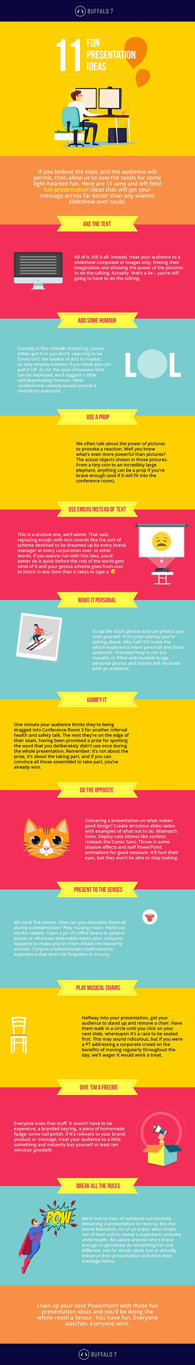 [GIFOGRAPHIC] CLICK TO PLAY  11 Fun Presentation Ideas.  Why so serious? Liven up your next PowerPoint by incorporating some of these fun presentation ideas. Your audience will thank you for it.