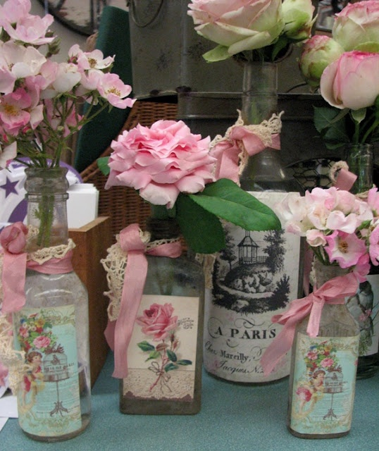 """Pretty Bottles w/ Vintage Labels, Lace, & Ribbons by """"Rose Petals & Rust."""""""