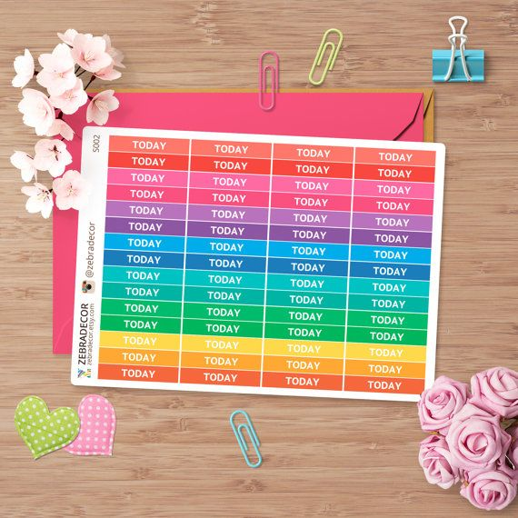 Planner Stickers Today   Today header stickers for от ZebraDecor