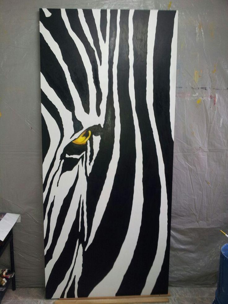 Cuadro abstracto moderno zebra blanco y negro pinturas - Cuadro blanco y negro ...