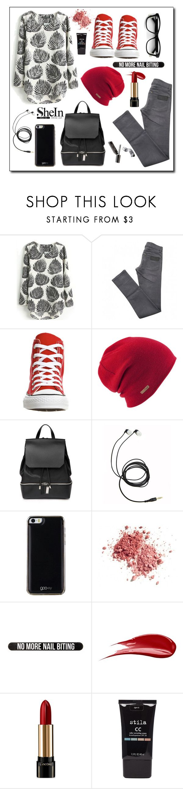 """""""grey+red"""" by dheaelvianty ❤ liked on Polyvore featuring April 77, Converse, Coal, COSTUME NATIONAL, Gooey, Bershka, Hourglass Cosmetics, Lancôme and Stila"""
