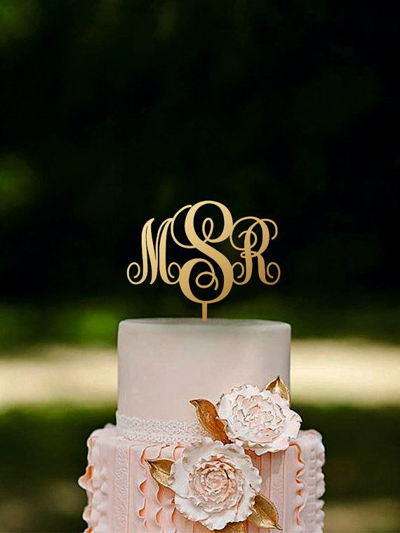 Initial Cake Topper Monogram Cake Topper Couple Name Cake Topper Rustic Wood Cake Topper Gold cake topper Silver cake topper
